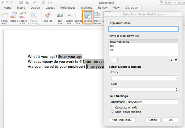 how to create a survey in ms word step 4