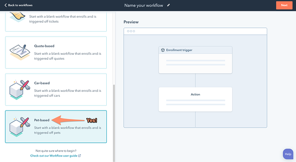 Workflows workspace showing where custom objects can be easily added.