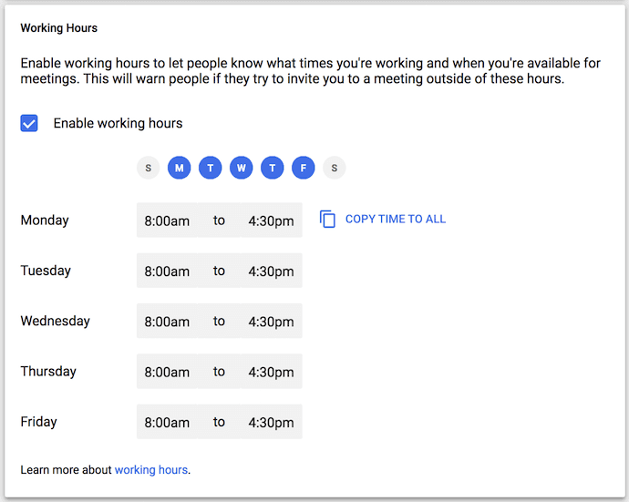 Working hours feature