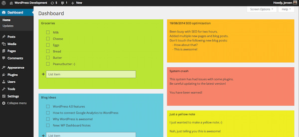 WP Dashboard Notes plugin for the WordPress admin area with multi-colored sticky notes on a dashboard