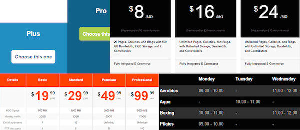 example of pricing table in wp table manager plugin