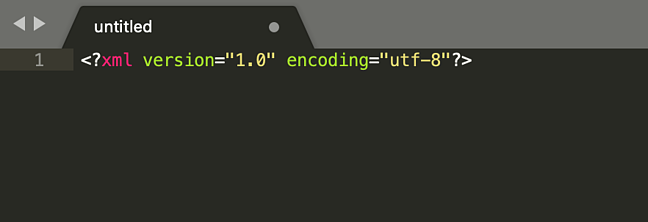 the beginning of an XML file
