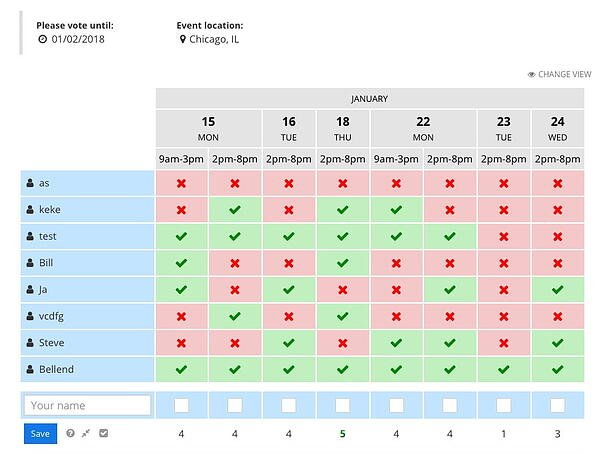 Xoyondo scheduling poll - calendar view with availability for invitees