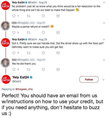 example of customer service on social media