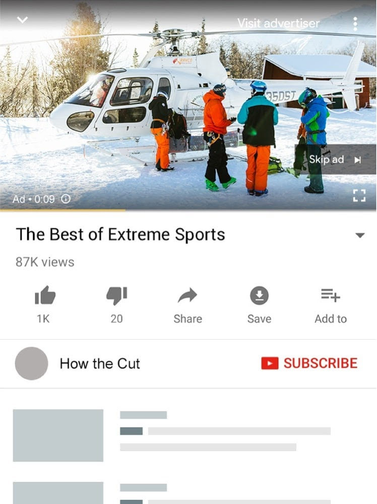 YouTube online ad example