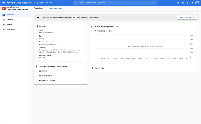 Dashboard for the YouTube Data API, where you can then create a credential