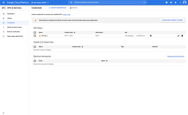 YouTube API key created and listed on the API & Services dashboard in Google Developers Console