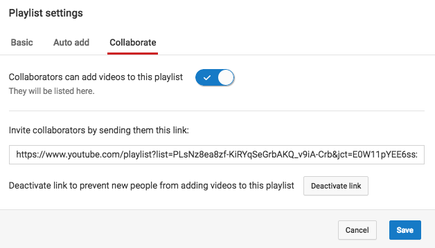 YouTube collaborate playlist setting.