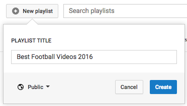 YouTube create new playlist page.
