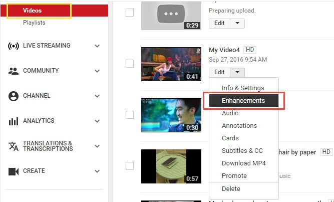 YouTube enhancements and effects feature.