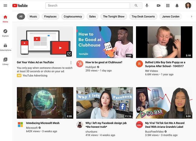 YouTube home page with recommended videos