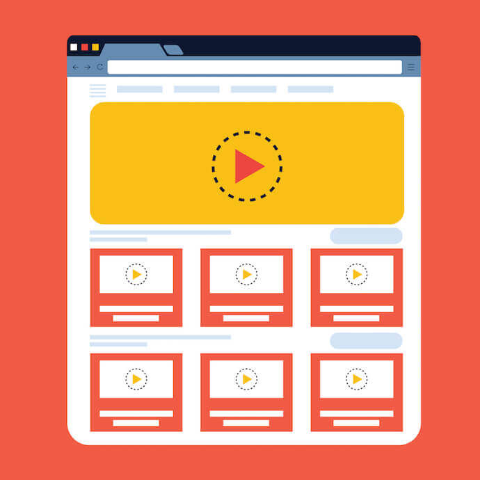 Channel page illustration with video grid template showing YouTube image sizes for video thumbnails