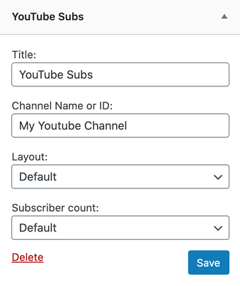 the YouTube Subs WordPress widget options window for adding a YouTube subscribe button to a webpage