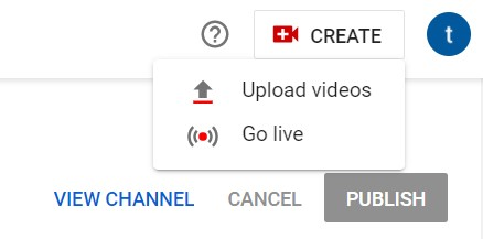 "youtube upload videos by clicking ""Create"" button"