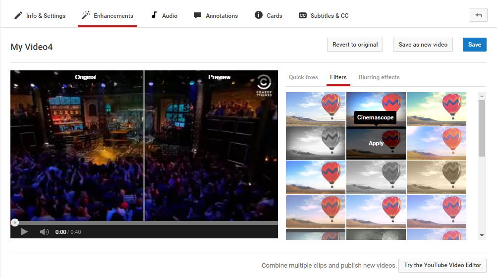 YouTube filters and other enhancements.