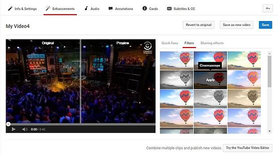 YouTube filters and other improvements.