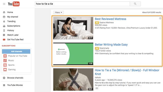 Dos TrueView Video Discovery Ads en un resultado de búsqueda de YouTube