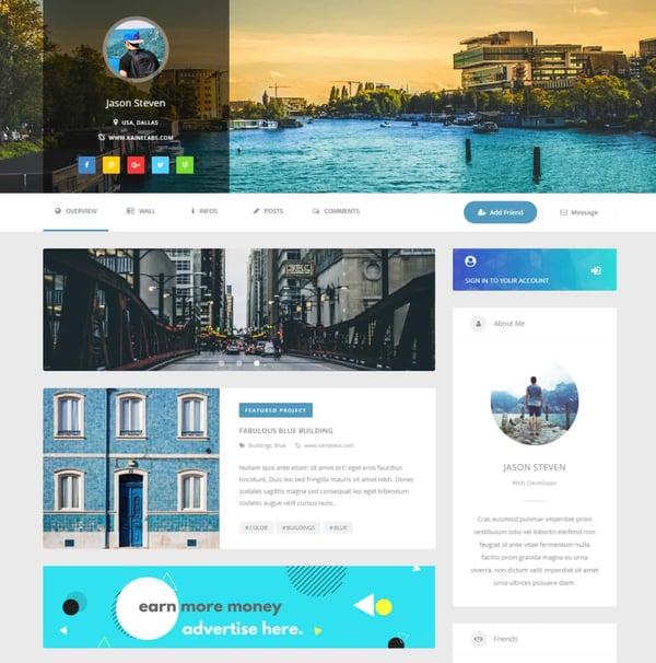 youzer buddypress plugin sample user profile page