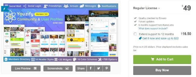 youzify social sharing plugin