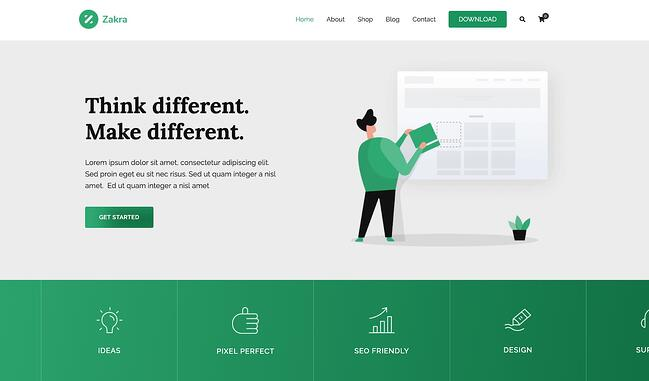 Zakra drag-and-drop theme demo for a marketing agency