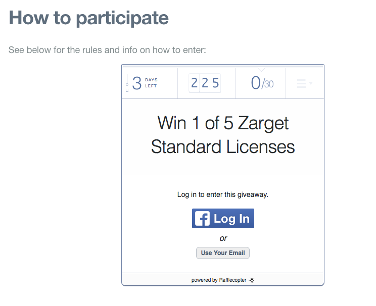 zarget_giveaway_example.png  15 Creative Lead Generation Ideas to Try zarget giveaway example