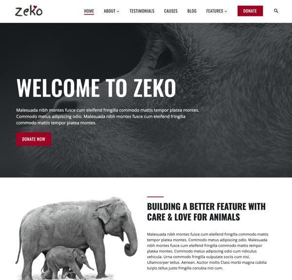 zeko nonprofit themeisle wordpress theme