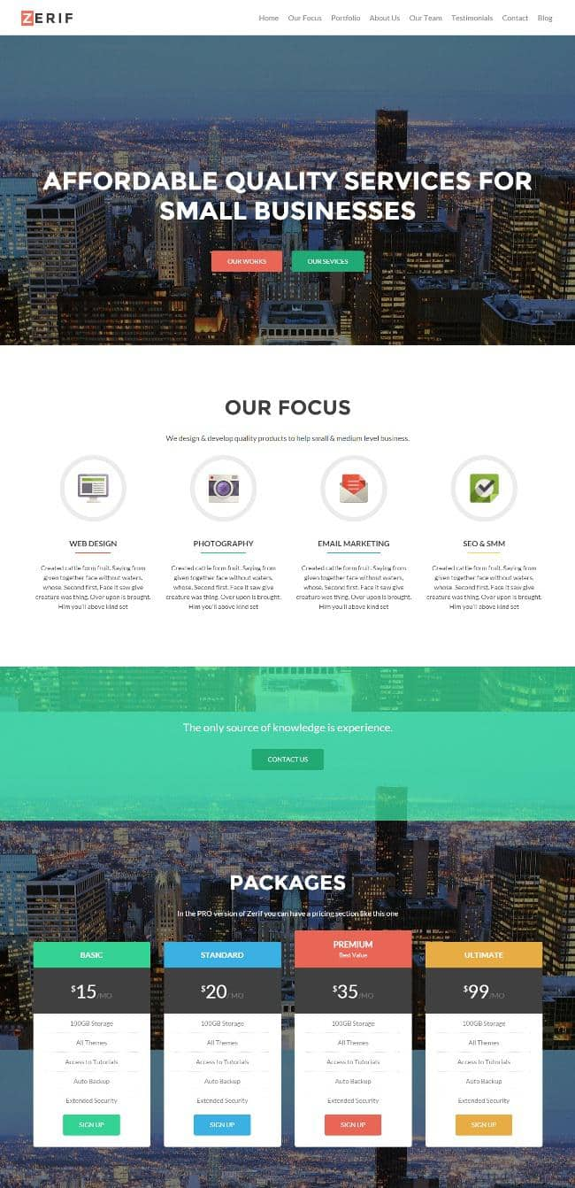 the one page WordPress theme Zelle Pro