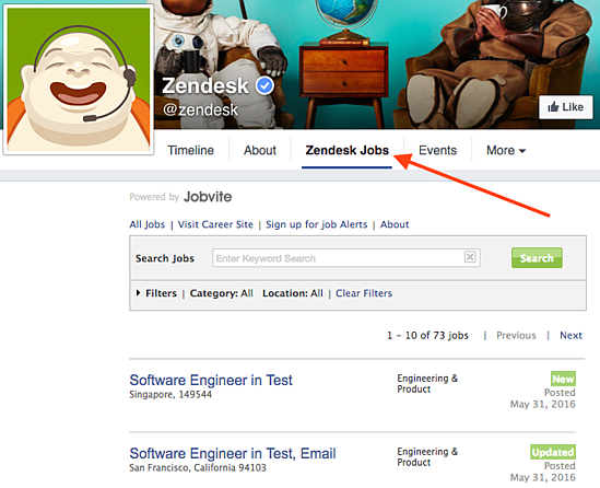 Zendesk Facebook jobs tab.