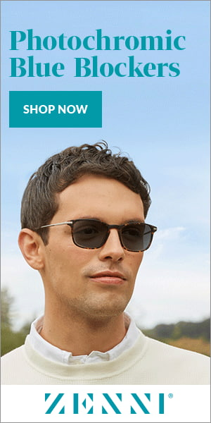 """Zenni programmatic display ad with a man wearing sunglasses and looking into the distance. The text says """"Photochromic Blue Blockers"""""""