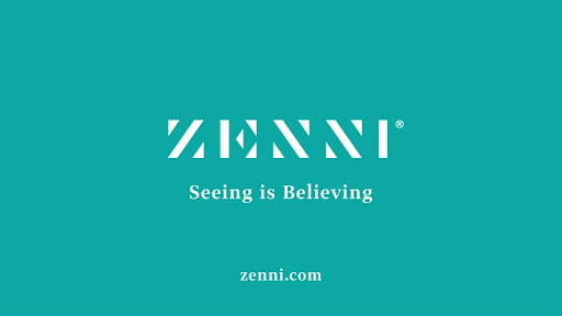 """The end of a Zenni Optical TV ad with a Zenni's brand colors and the text """"Seeing is believing"""""""