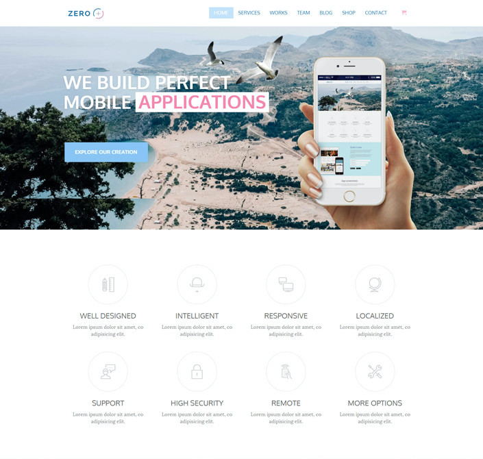 Zero one page WordPress theme