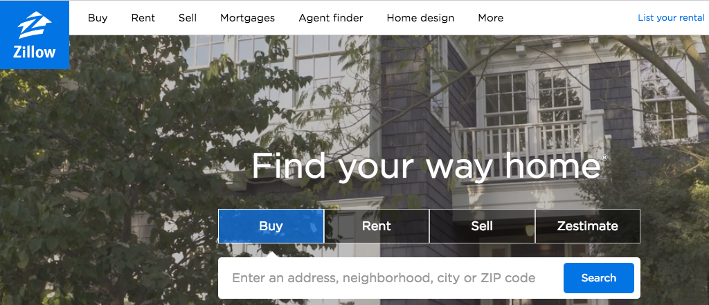 Zillow website banner