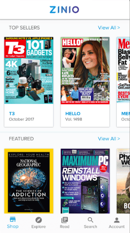 Zinio mobile app for reading an actual magazine