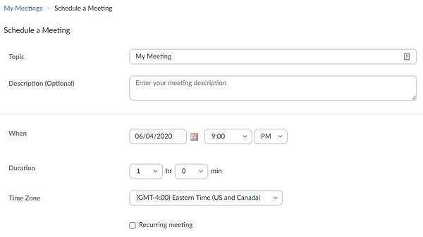 zoom meeting scheduler interface