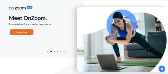 Zoom Homepage Slider Marketing message that reads
