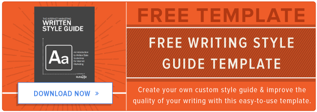 free writing style guide template
