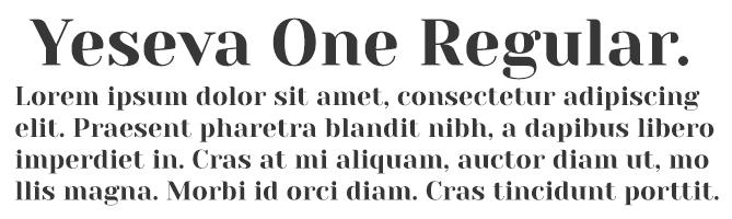 Yeseva One Regular free serif font