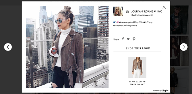 All Saints shoppable content