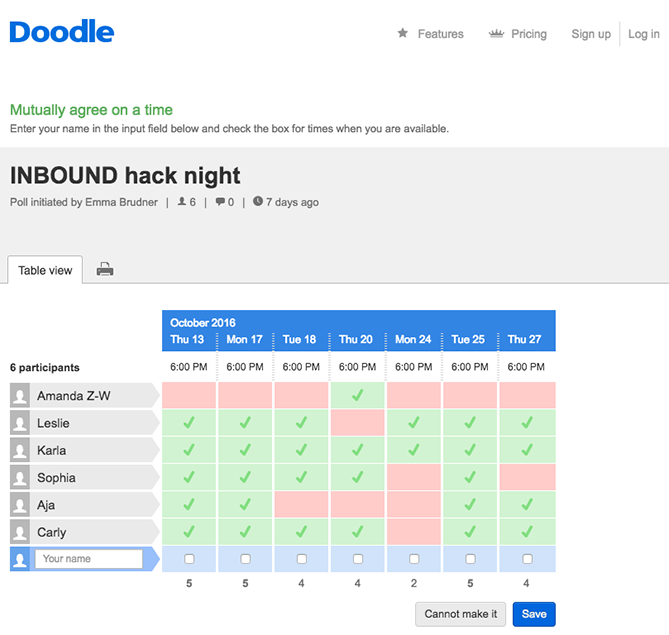doodle scheduler allows teams to show availability