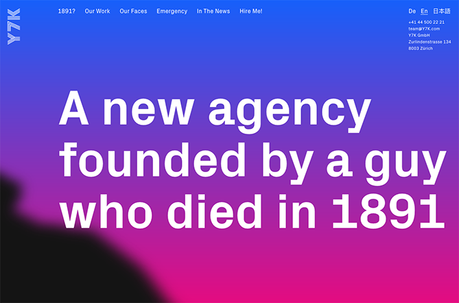 website screen grab with a new agency died on 1891