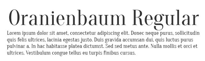Oranienbaum Regular free serif font