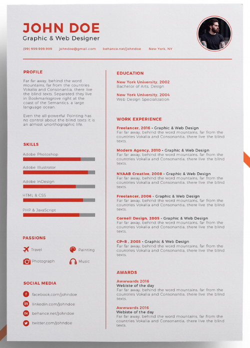 3 resume template with a simple color accent