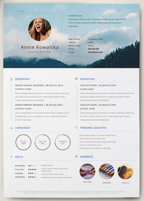 Monochromatic And Retro Resume Template