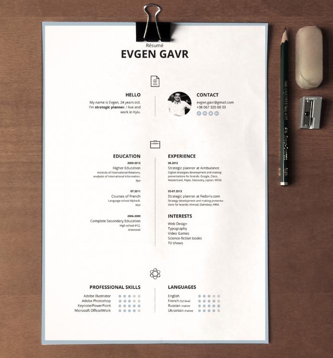 Center Aligned Resume Template
