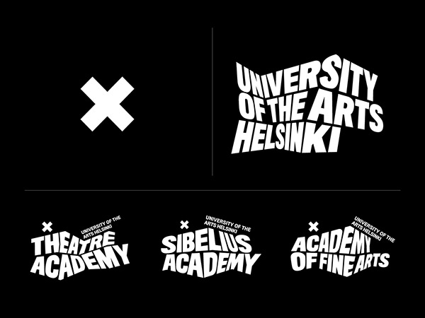 Brand style guide of the University of the Arts Helsinki with black background and white sans typeface and X logo