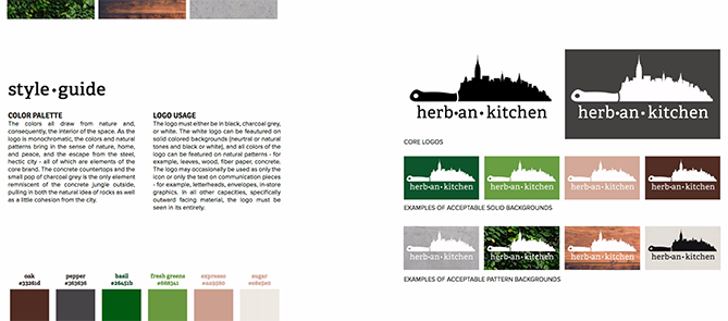 Brand style guide for Herban Kitchen with eight logo variations and six color code tiles
