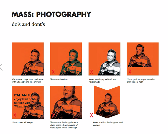 Brand style guide for Jamie Oliver with red tiled images showing photography restrictions