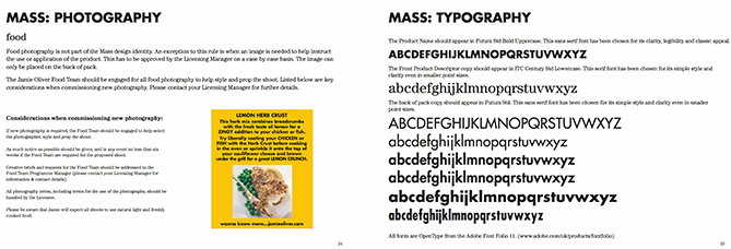 Typography guidelines for Jamie Oliver