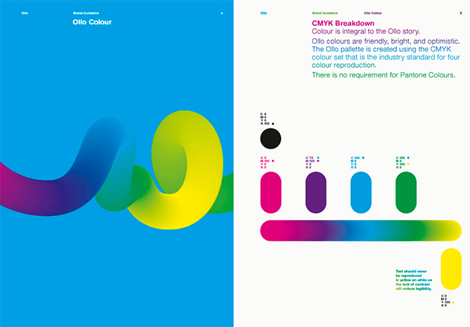 Brand style guide by Ollo with color palette including four color codes