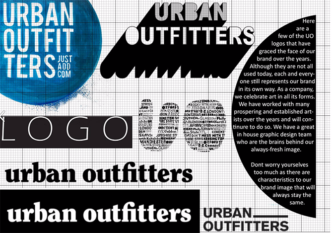 Brand style guide for Urban Outfitters with black and white logo variations